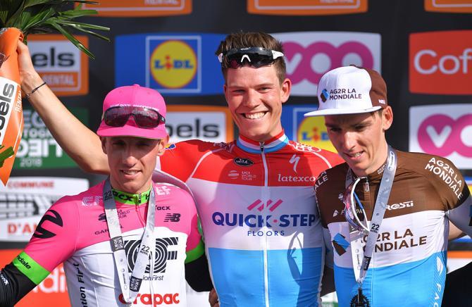 Bob Jungels (Quick-Step Floors) wins Liege-Bastogne-Liege, Michael Woods (EF-Drapac) second and Romain Bardet (AG2R La Mondiale) third