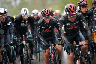 Richie Porte and Geraint Thomas (Ineos Grenadiers) in a rainy Tour de Romandie stage