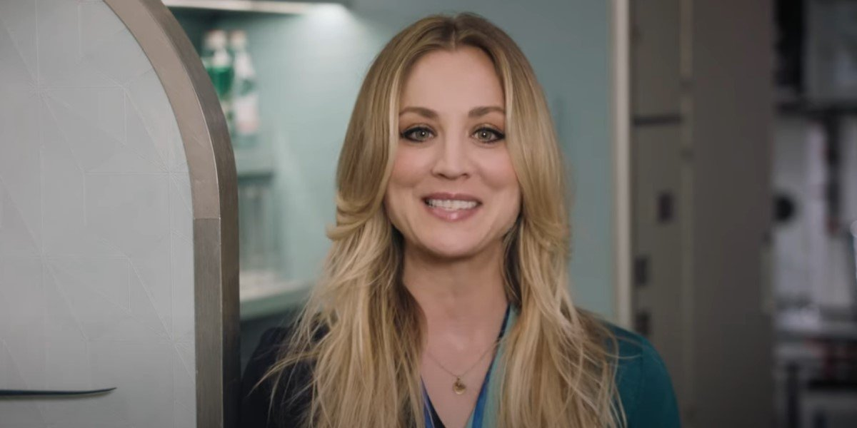 kaley cuoco's cassie bowden smiling in the flight attendant promo video