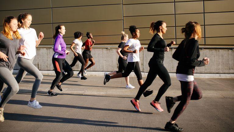 Women on a group run