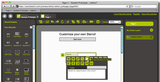 Wireframe tools: Pidoco