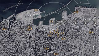 Preliminary yield estimation of the 2020 Beirut explosion using video footage from social media. Numbers indicate filming locations of the 16 videos used to estimate the yield of the 2020 Beirut explosion. Satellite imagery from Google Earth (Jan. 2020).