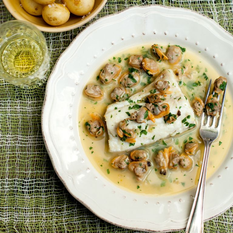 Roasted Hake-clam sauce-summer recipes-woman and home