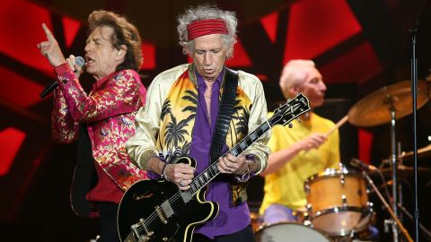 A photograph of the Rolling Stones on stage