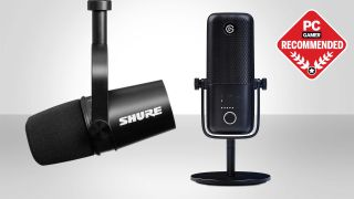 Two microphones on a grey background with the PC Gamer Recommended badge in the top right.