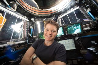 NASA astronaut Anne McClain on the International Space Station during the Expedition 59 mission on April 16, 2019. McClain's estranged spouse recently made a criminal claim against the astronaut, which is currently being investigated.