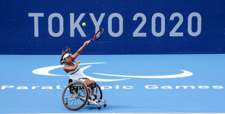 ui Kamiji of Team Japan in action during a training session ahead of the Tokyo 2020 Paralympic Games at Ariake Tennis Park on August 23, 2021 in Tokyo, Japan.