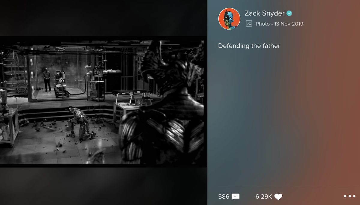 Cyborg defending his father
