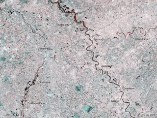 A satellite image shows flooding in Europe in July 2021.