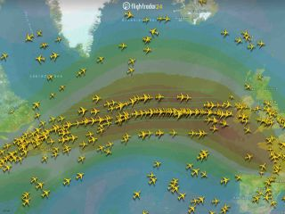 A map provided to Live Science by FlightRadar24 shows a line of jets clustering in the fastest-moving winds of the jet stream.