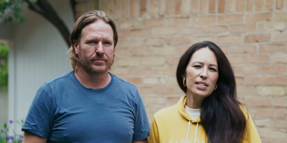 Chip and Joanna Gaines talking about new problems during a renovation on Fixer Upper: Welcome Home