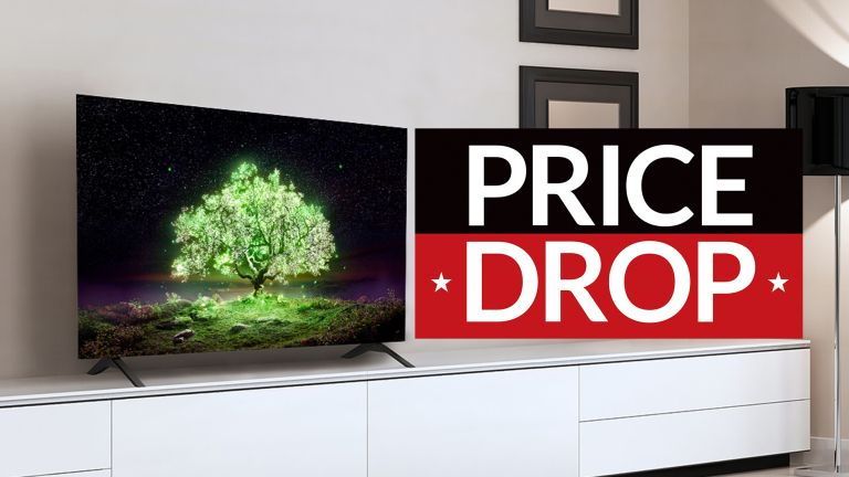 4K TV deal bank holiday sales LG A1 with sign saying price drop