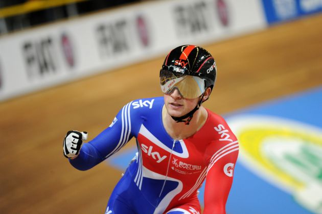 Jason Kenny celebrates mens sprint 2011 world track championships Apeldoorn.jpg