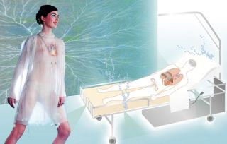 In the future, perfume-emitting clothes will encase wearers in mood altering smell bubbles.