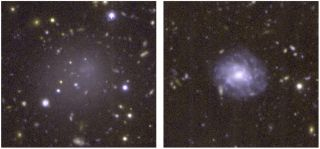 DGSAT I (left) is an ultra-diffuse galaxy that doesn't have a lot of stars like normal spiral galaxies (right).