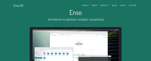 Screenshot of Enso OS' website