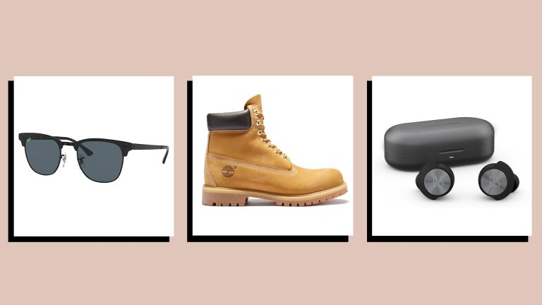 images of three of the best Christmas gifts for husbands—Ray-Ban sunglasses, Timberland boots and a Bang & Olufsen earphones—on a beige background