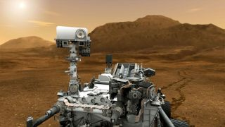 illustration of Mars Curiosity rover on Red Planet.