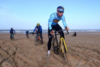 Wout Van Aert battles through the Ostend sand in training