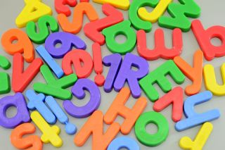 Multicolored, magnetic letters