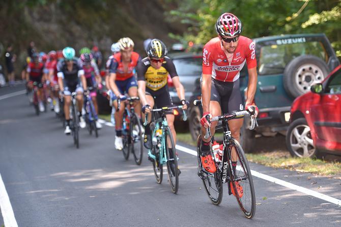 Thomas De Gendt (Lotto Soudal) leads the breakaway