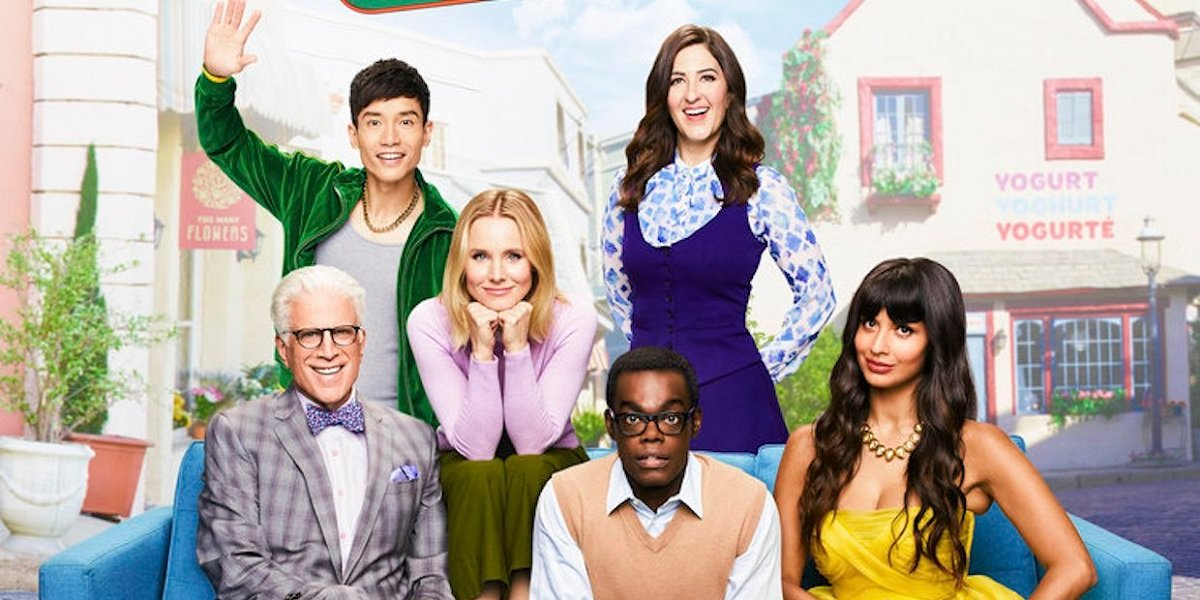 Ted Danson, Jameela Jamil, Manny Jacinto, Kristen Bell, William Jackson Harper, and D'Arcy Carden in