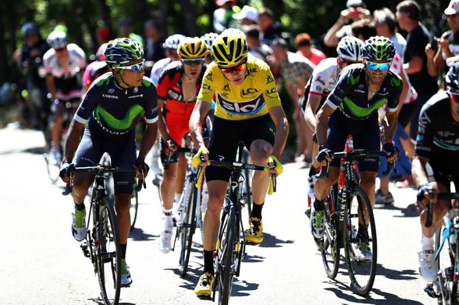 Nairo Quintana and Chris Froome ride next to each other during stage 12 of the Tour de France