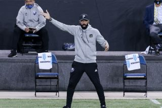 Oct 27, 2020; Harrison, New Jersey, USA; Montreal Impact head coach Thierry Henry reacts during the second half against Nashville SC at Red Bull Arena. Mandatory Credit: Vincent Carchietta-USA TODAY Sports/Sipa USA
