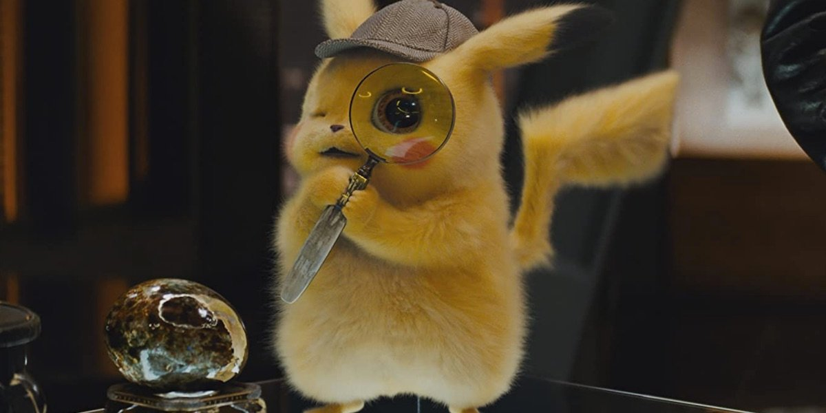 Detective Pikachu with a magnifying glass