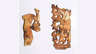 Ivories depicting women carrying offerings and scenes of life were found in the temple.