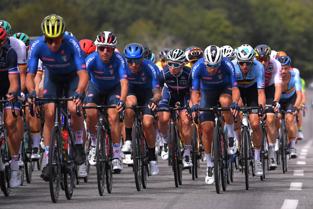 PLOUAY FRANCE AUGUST 26 Diego Ulissi of Italy Giacomo Nizzolo of Italy Cyril Gautier of France Davide Ballerini of Italy Oliver Naesen of Belgium during the 26th UEC Road European Championships 2020 Mens Elite a 17745km race from Plouay to Plouay UECcycling EuroRoad20 on August 26 2020 in Plouay France Photo by Luc ClaessenGetty Images