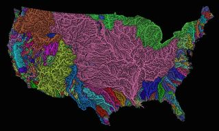 map of river flow in the united states