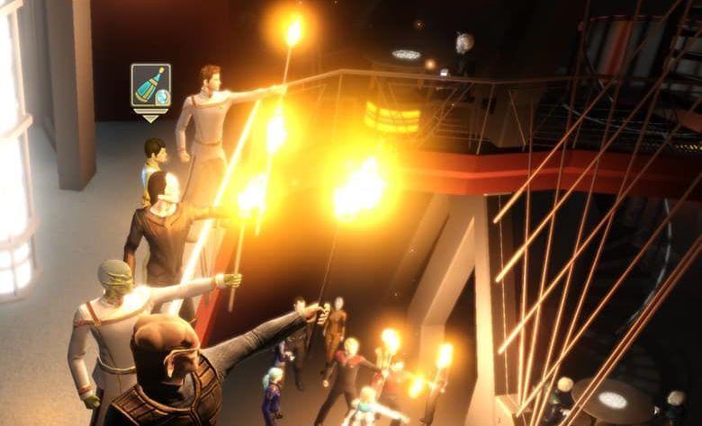 Star Trek Online players held a torchlit vigil for Aron Eisenberg in Quark's Bar