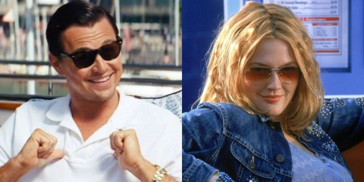 Leonardo DiCaprio and Drew Barrymore in Wolf of Wall Street and Charlie's Angels