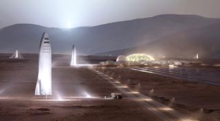 Artist's illustration of SpaceX Starship vehicles on the surface of Mars. (This scene shows carbon-composite Starships; SpaceX has since decided to build the vehicles out of stainless steel.)