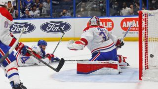 Blake Coleman #20 of the Tampa Bay Lightning scores against Carey Price #31 of the Montreal Canadiens during the second period in Game Two of the 2021 NHL Stanley Cup Final at Amalie Arena on June 30, 2021 in Tampa, Florida.