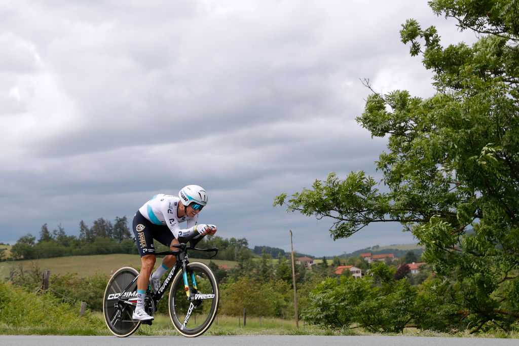 ROCHELAMOLIERE FRANCE JUNE 02 Alexey Lutsenko of Kazahkstan and Team Astana Premier Tech during the 73rd Critrium du Dauphin 2021 Stage 4 a 164km Individual Time Trial stage from Firminy to RochelaMolire 585m ITT UCIworldtour Dauphin dauphine on June 02 2021 in RochelaMoliere France Photo by Bas CzerwinskiGetty Images