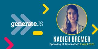 An image promoting Nadieh Bremer's appearance at GenerateJS.