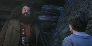 Hagrid, Harry and Professor Quirrell stand in the Three Broomsticks in 'Harry Potter and the Sorcerer's Stone'