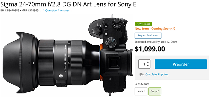 You can pre-order the Sigma 24-70mm f/2.8 for HALF the price of Sony's version | Digital Camera World