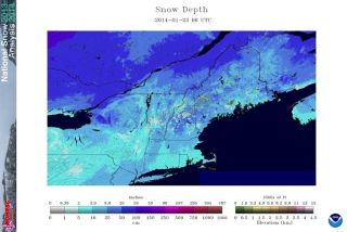 Map of Snow Depth - Jan. 22, 2014