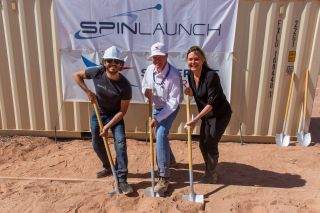 SpinLaunch CEO Jonathan Yaney (left), Spaceport America CEO Dan Hicks (center) and New Mexico Economic Development Department Secretary Alicia Keyes mark the start of construction on a $7 million SpinLaunch test facility on May 7, 2019.