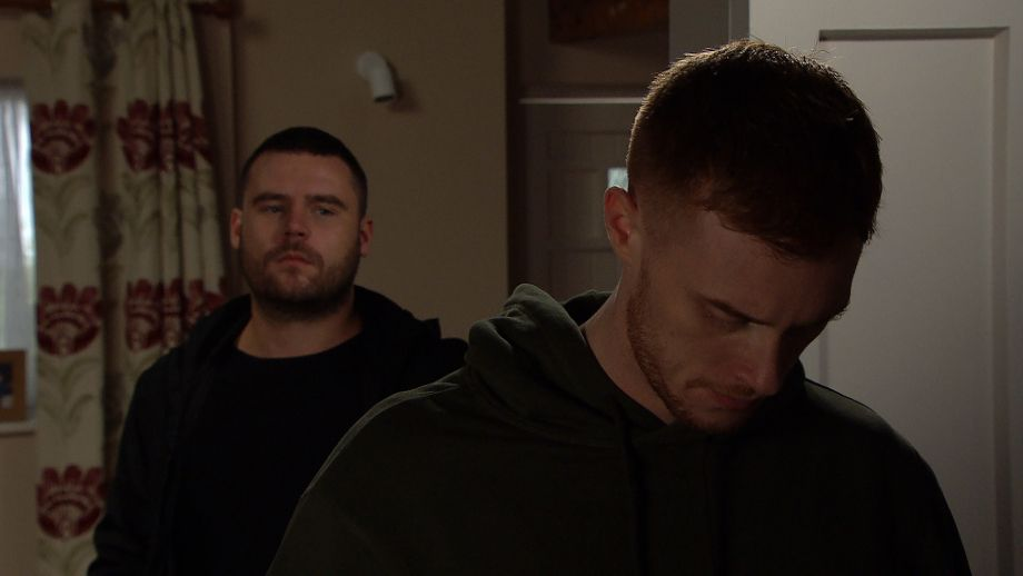 Luke is worried what Aaron Dingle is about to do to him in Emmerdale