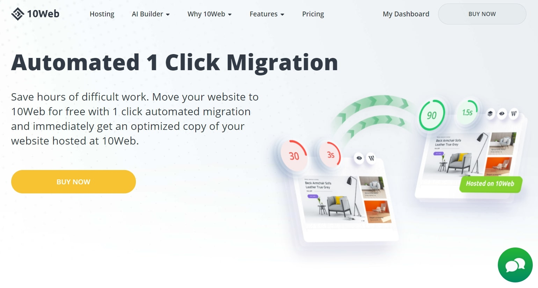 Le site Web AI Website Builder fait la promotion de la fonction de migration AI