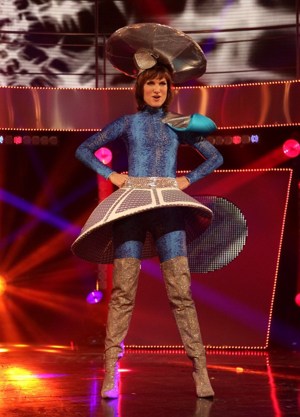 Fiona Bruce dressed in a space-aged costume Children In Need in 2010