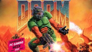 Doomguy shooting a demon that's just trying to hold his hand.