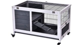 PawHut Portable Indoor Wooden Small Animal Cage
