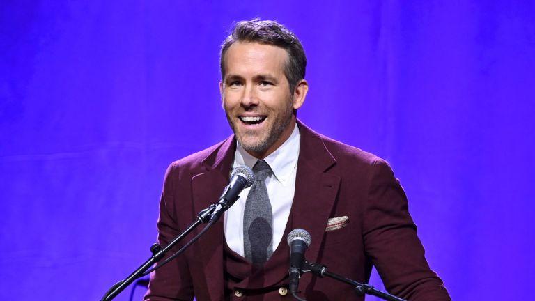 Ryan Reynolds on stage speaking