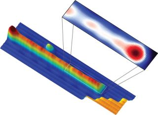 Physicists used a scanning tunneling microscope to capture an image of the neutral charge signature of the Majorana fermion at the end of the wire.