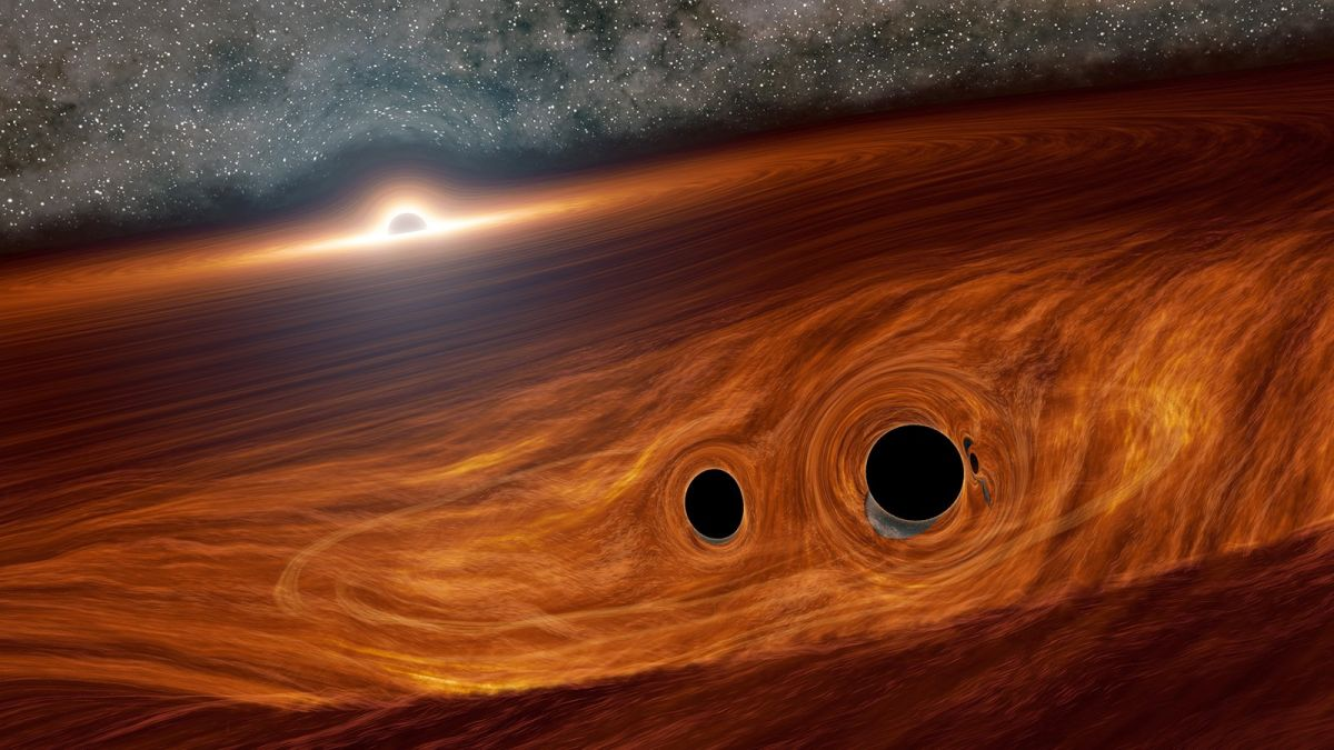 Scientists spot flash of sunshine from colliding black holes. But how? - Space.com thumbnail